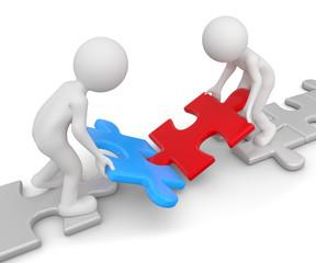 zwei Männchen zusammenarbeit puzzle