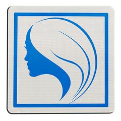 silhouette profil de femme sur plaque carrée