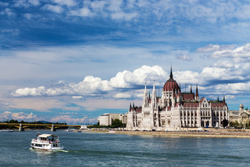 The view of Budapest and the Parliament.