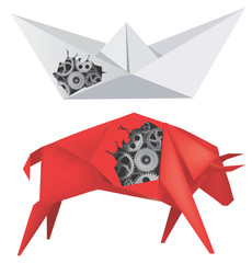 Origami Boat and Bull with Gears