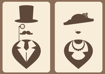 lady and gentleman vintage symbols
