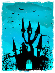 Scary Halloween Castle with Copy Space. EPS 10