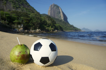 Football Soccer Ball with Fresh Coconut Rio Beach