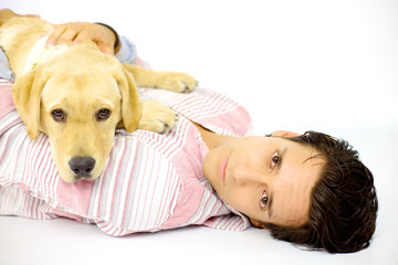 Man and labrador looking serious