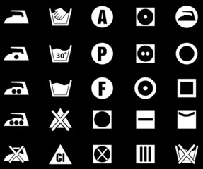 Laundry Sign Silhouette Icons