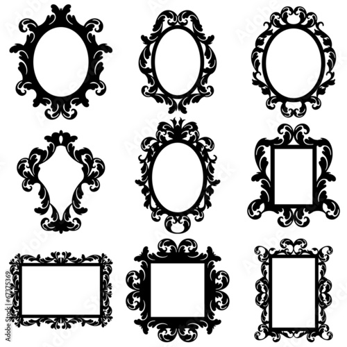 Vector Set of Baroque Frame Silhouettes - 67375369