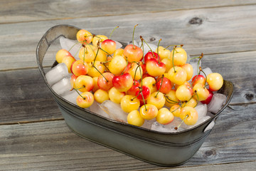 Fresh Whole Cherries on Ice