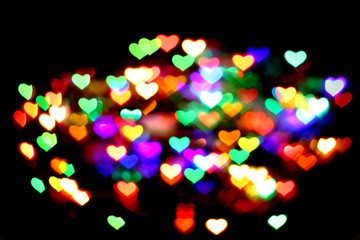 abstract christmas color lights background - hearts