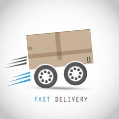 Cardboard box on wheels
