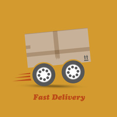 Fast delivery box on wheels