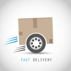 Fast delivery box with tire