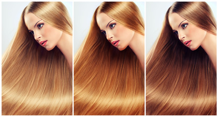 Beautiful woman with long, healthy and shiny hair.