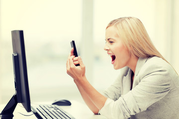angry woman with phone