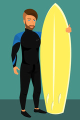 Hipster guy wearing diving suit with yellow surfboard