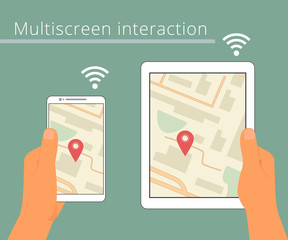 Multiscreen interaction. Synchronization of smartphone and