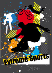 extreme sports skateboarder and bicycle with spray graphic