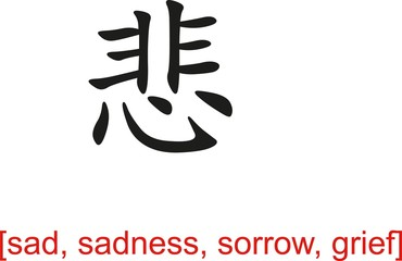 Chinese Sign for sad, sadness, sorrow, grief