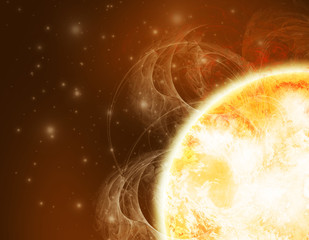 Sun illustration in deep space