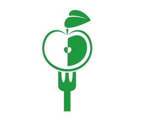 Векторное избражение яблока и вилки
