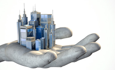 Skyscraper City In The Palm Of A Hand