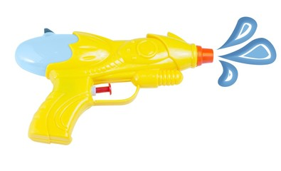Waterpistol with waterdrops