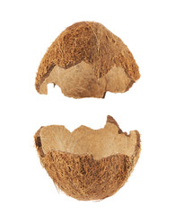 Coconut fruit shell cut in half
