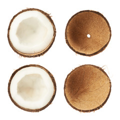 Coconut sliced in halves isolated