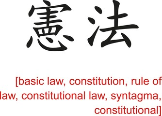 Chinese Sign for basic law, constitution, rule of law, syntagma
