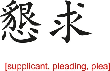 Chinese Sign for supplicant, pleading, plea