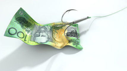 Australian Dollar Banknote Baited Hook