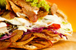 canvas print picture - Kebab - grilled meat, bread and vegetables