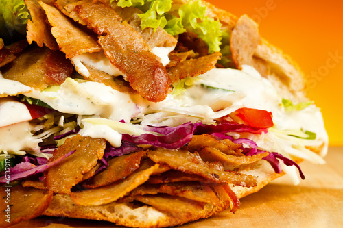canvas print picture Kebab - grilled meat, bread and vegetables