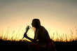 Silhouette of Girl Picking Flowers in Meadow at Sunset