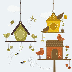 Cute birds with colorful birdhouse