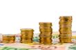 Stapel Geldmünzen, steigende Kurve, Münzstapel