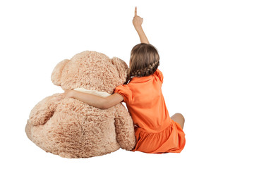 Girl hugging bears and shows thumb up
