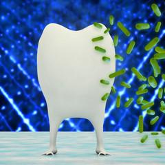 Zahn mit Bakterien - 3d Render