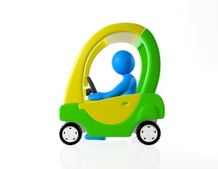 3d man drives yellow and green toy car