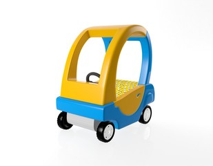 Orange and blue toy car