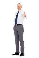 smiling businessman showing thumbs up