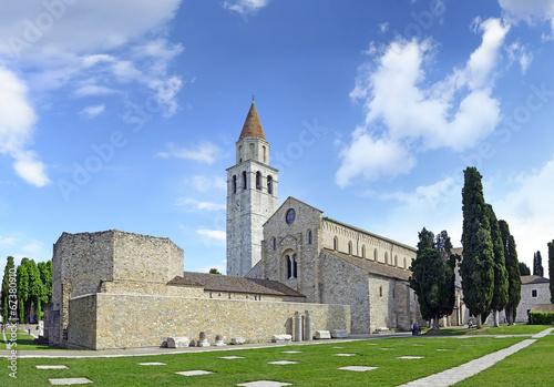 Leinwanddruck Bild Baptistery, Basilica and bell tower of Aquileia, Italy. UNESCO