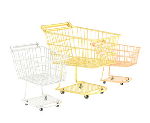 Three shopping carts composition
