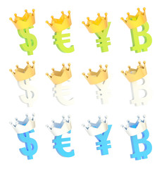 Four currency signs in a crown set
