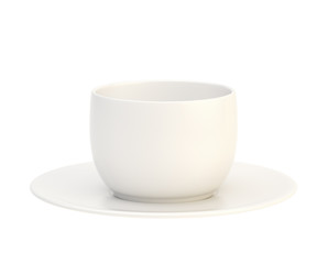Ceramic cup and plate set isolated