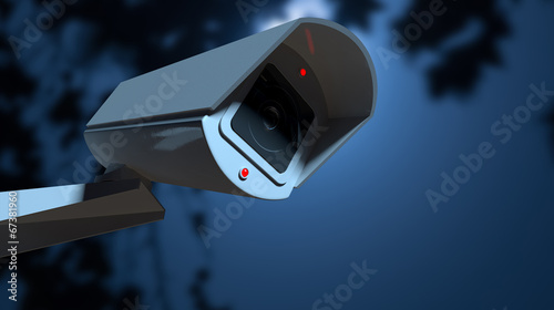 canvas print picture Surveillance Camera In The Night-time