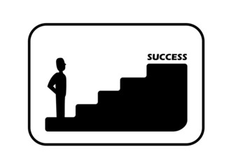 Success Concept Black and White Illustration