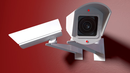Surveillance Cameras On Red