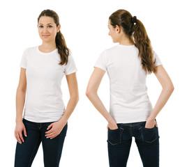 Young smiling woman wearing blank white shirt