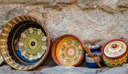Bulgaria, typical decorated bowls and vases