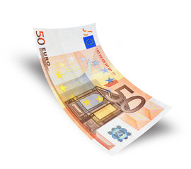 fifty euro banknote on white background